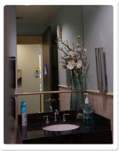 Patient Restroom – Clean, ADA-Compliant/Handicap-Accessible Facilities with Amenities that include Fresh Scent, Mouthrinse, Diaper Changing Station